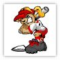 Girl Softball Batter Cartoon Clipart Image