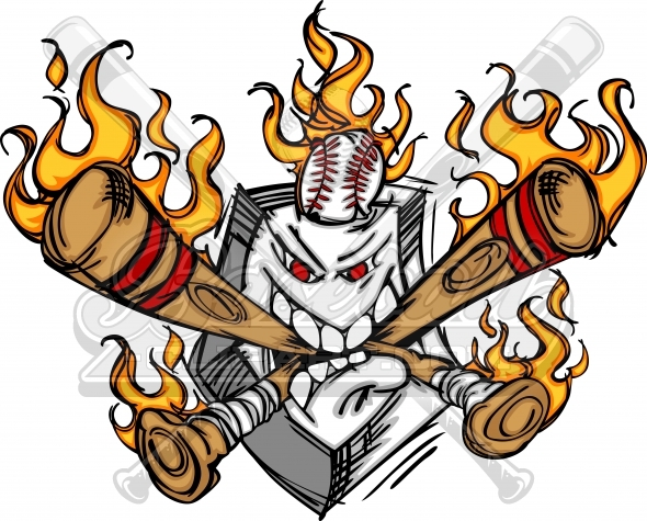Flaming Baseball Plate Cartoon Clipart Image