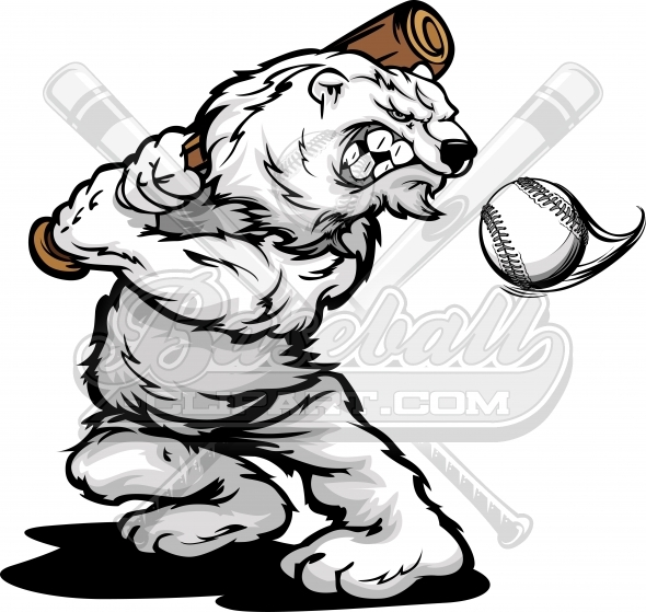 Polar Bear Baseball Cartoon Vector Illustration