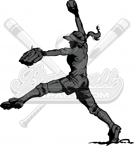 Fastpitch Pitcher Silhouette Clipart Image