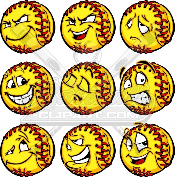 Softball Face Clipart with a Variety of Facial Expressions