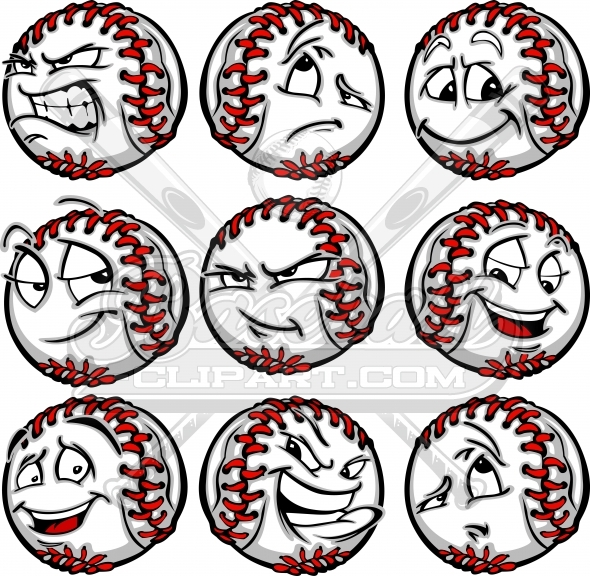 Cartoon Baseball Faces with a Variety of Facial Expressions