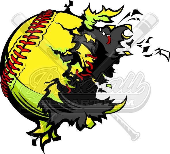 Exploding Softball Vector Clipart Image