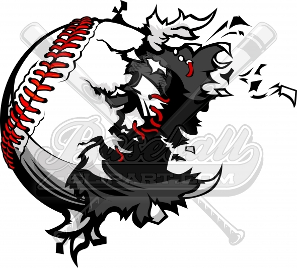 Destroyed Baseball Vector Clipart Image