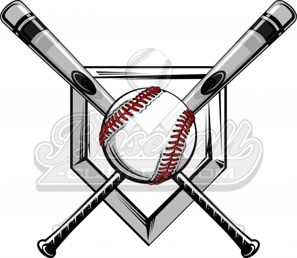 Crossed Baseball Bats Logo. Baseball Bats Image with Baseball.