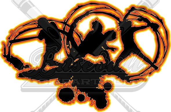 Fastpitch Softball Art Vector Clipart Silhouettes Image