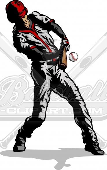 Baseball Batter Silhouette Swinging at Pitch Vector Image
