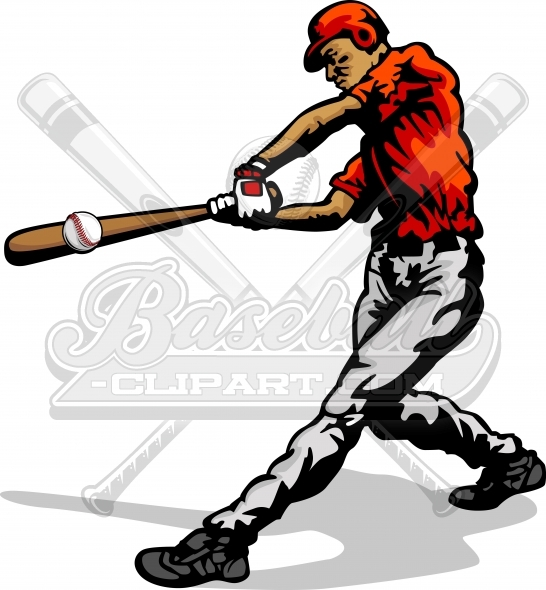 Baseball Player Clipart Vector Silhouette