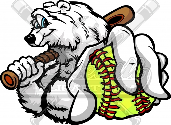 Winter Softball Clipart of a Baseball Polar Bear Vector Illustration