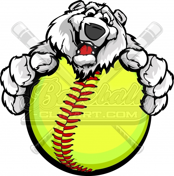 Fastpitch Polar Bear Clipart Vector Illustration