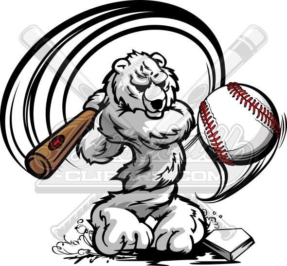 Baseball Polar Bear Swinging Bat Clipart Vector Illustration