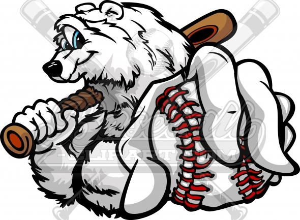 Winter Baseball Clipart of a Baseball Polar Bear Vector Illustration