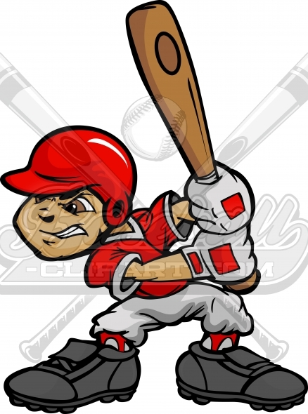 Baseball Kid with Baseball Bat Clipart Image