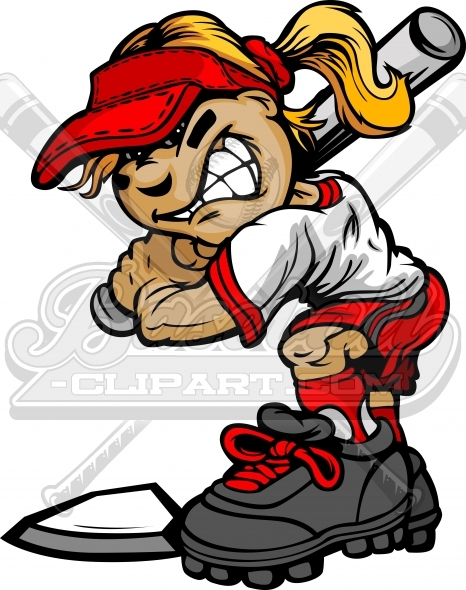 Softball Batter Cartoon Girl Holding Bat Vector Clipart Image