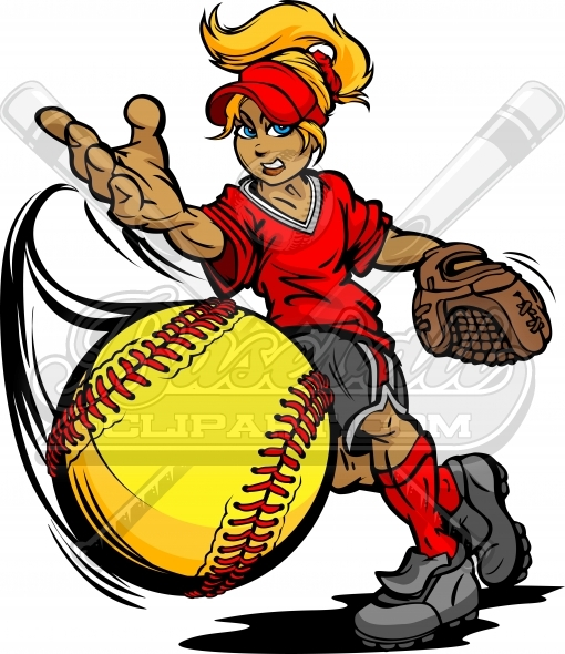 Fastpitch Softball Pitcher Throwing Fast pitch Softball Vector Clipart Image