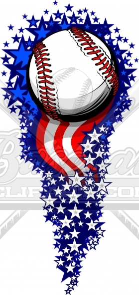 July 4th Baseball Fireworks with Flags and Stars Clipart Image