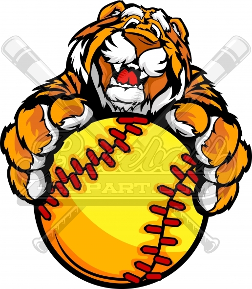 Tiger Fastpitch Softball Clipart Image with Ball in Paws