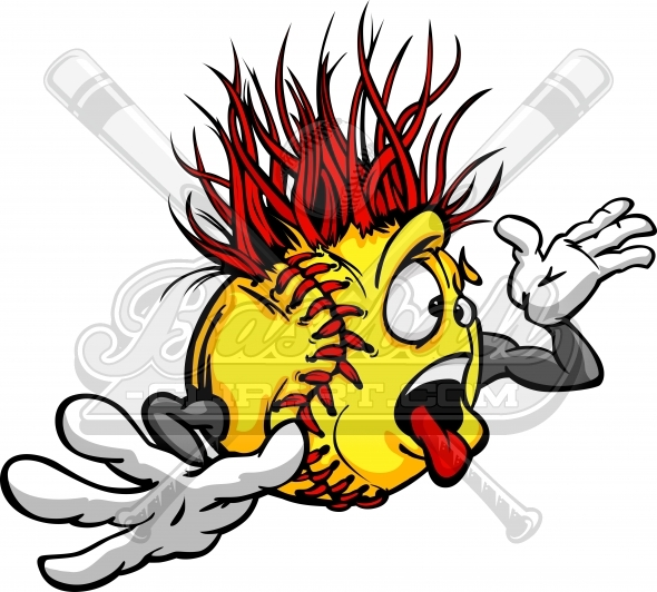 Crazy Softball Ball Madness Cartoon Face with Hands Vector Image