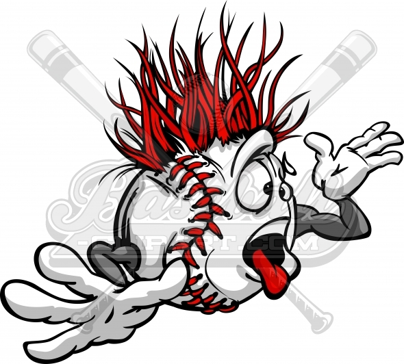 Crazy Baseball Ball Madness Cartoon Face with Hands Vector Image