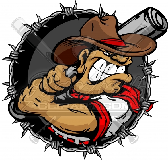 Baseball Cowboy Cartoon Vector Clipat Image