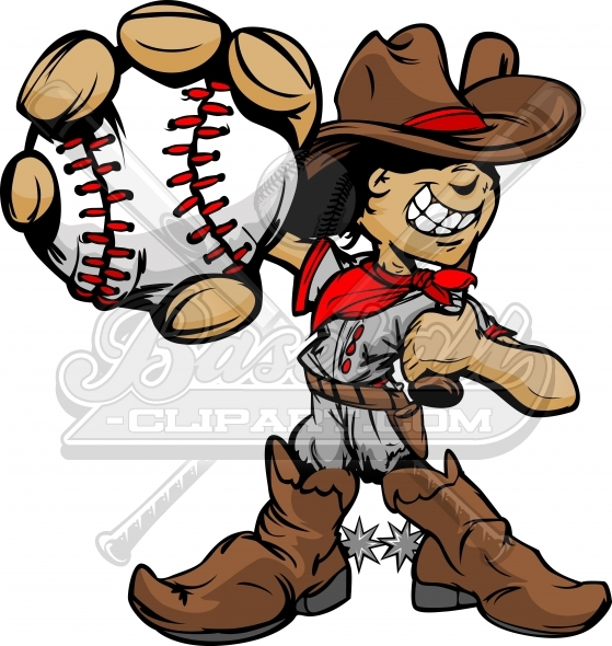 Cartoon Cowboy Baseball Kid Player Holding Baseball