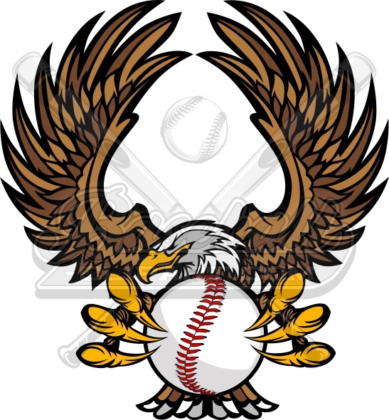 Eagle Baseball Logo Clipart Vector Illustration