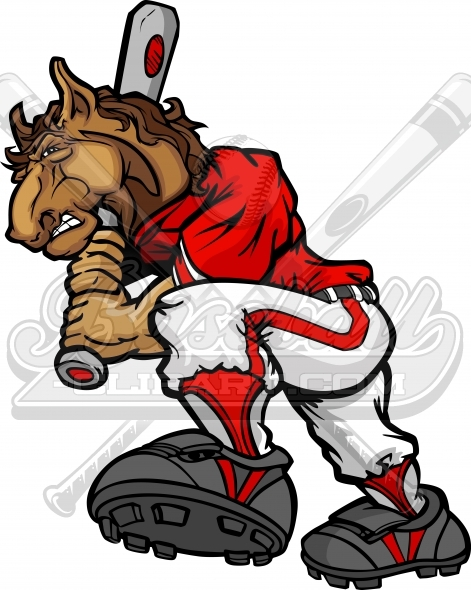 Mustang Baseball Clipart – Softball Cartoon Clipart Image