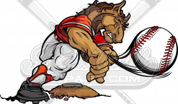 Stallion Baseball Pitcher Cartoon Clipart Image
