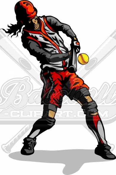 Fastpitch Softball Hitter Clipart Vector Image