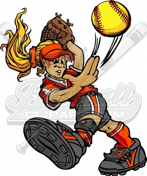 Softball Pitcher Clipart Pitching Fast pitch Softball Vector Image
