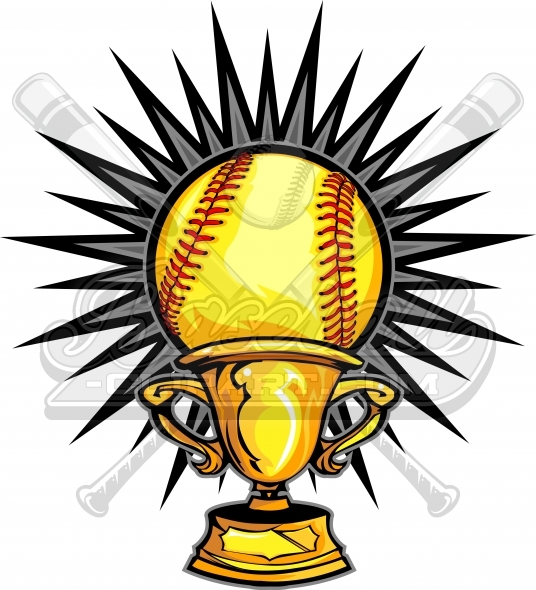 Softball Champions Design Trophy Vector Clipart Image