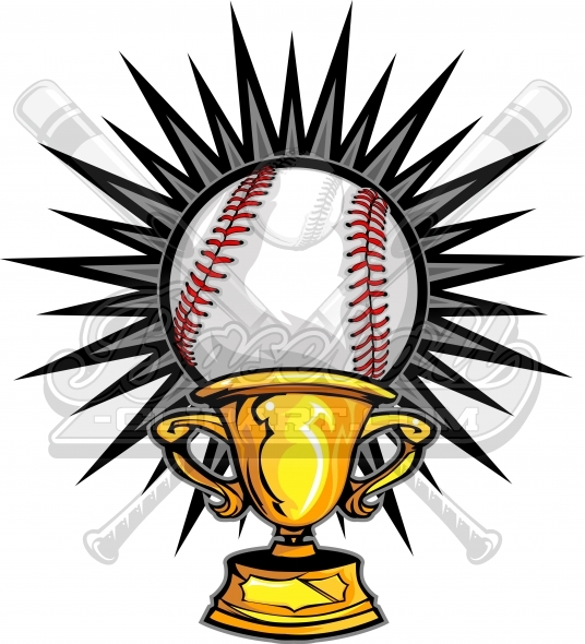 Baseball Champions Design Trophy Vector Clipart Image