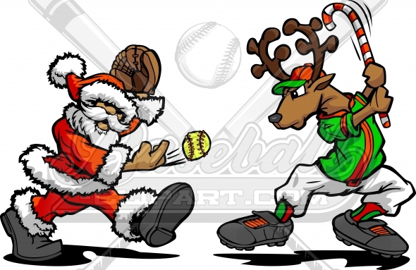 Christmas Softball Clipart of Santa Claus Pitching Softball to a Reindeer with Candy Cane Bat
