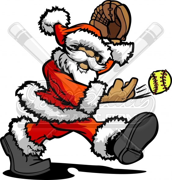 Softball Santa Pitcher – Fastpitch Softball Cartoon Vector Clipart Illustration