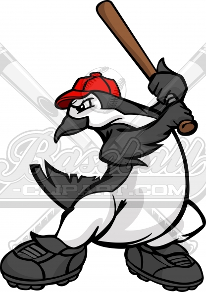 Penguin Baseball Player Swinging a Baseball Bat Vector Clipart