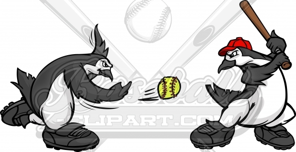 Penguin Softball – Clipart Image of Penguins Playing Softball