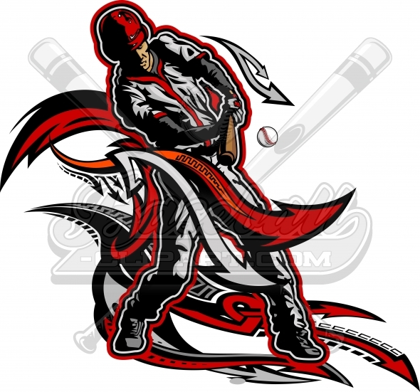 Baseball Clipart – Baseball Player Swinging Bat Clipart Image