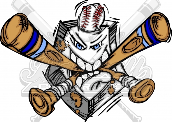 Baseball Plate Cartoon Vector Clipart Image