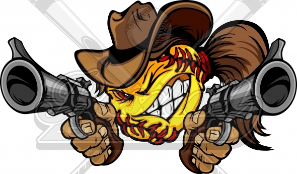 Cowgirl Fastpitch Softball Cartoon Clipart Image