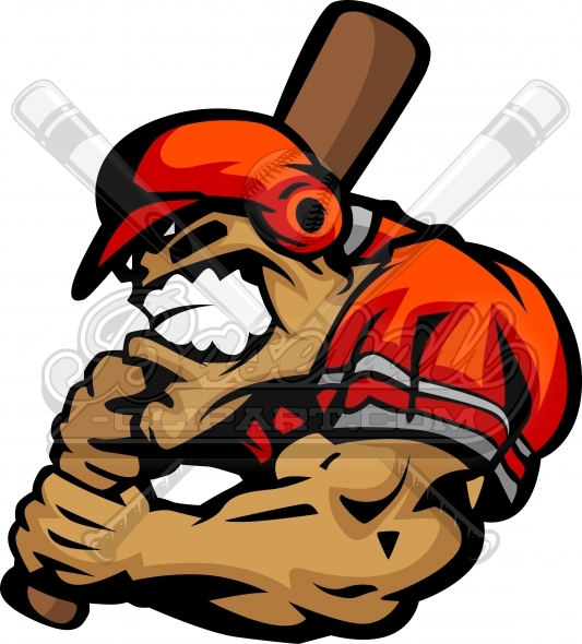 Baseball Batter Cartoon Clipart Vector Image