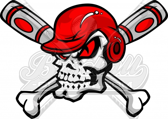 Baseball Crossbones with Skull Vector Clipart Cartoon