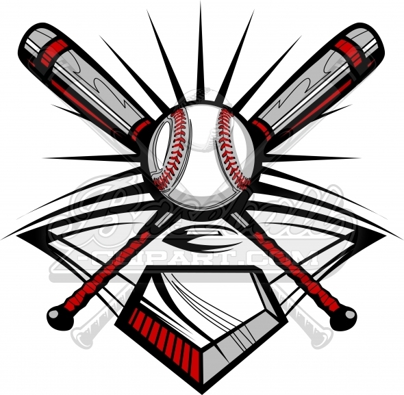 Baseball Design of Crossed Bats and Ball Vector Clipart Image