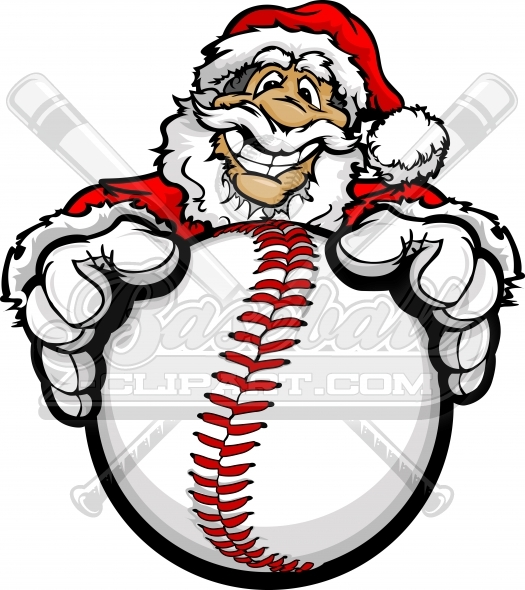 Baseball Santa Claus Clipart Vector Cartoon Image