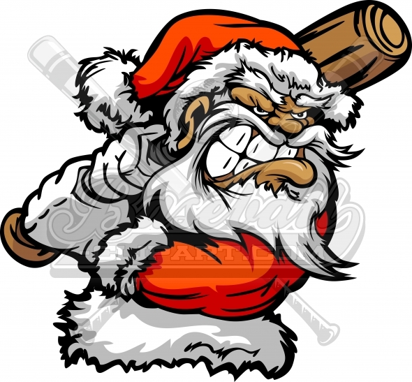 Baseball Santa Claus Cartoon Vector Clipart Image