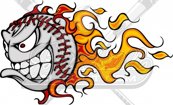Baseball Flame Cartoon Vector Clipart Image