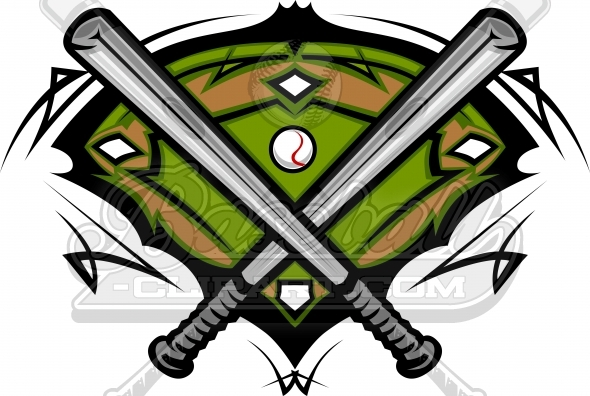 Baseball Bats Clipart with Baseball Field Vector Image Template