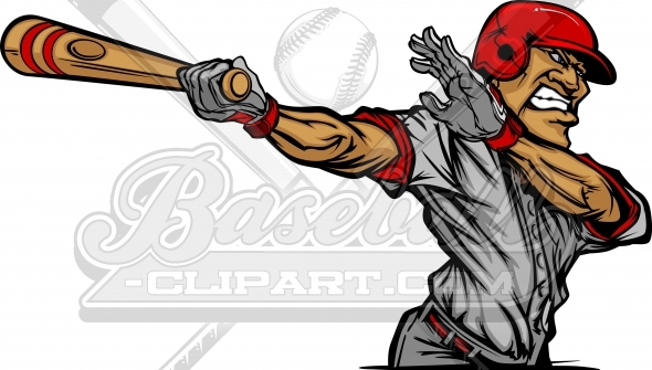 Baseball Player Cartoon Vector Clipart Image