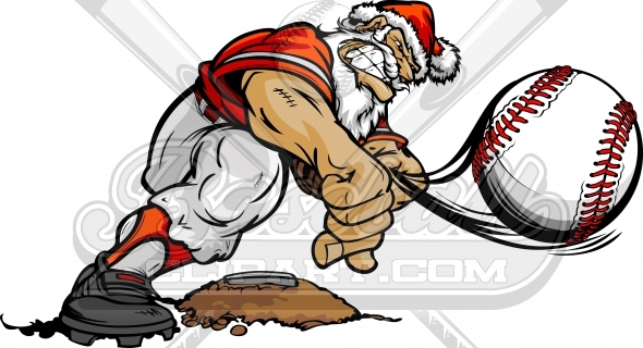 Santa Claus Pitching a Baseball Christmas Clipart Image