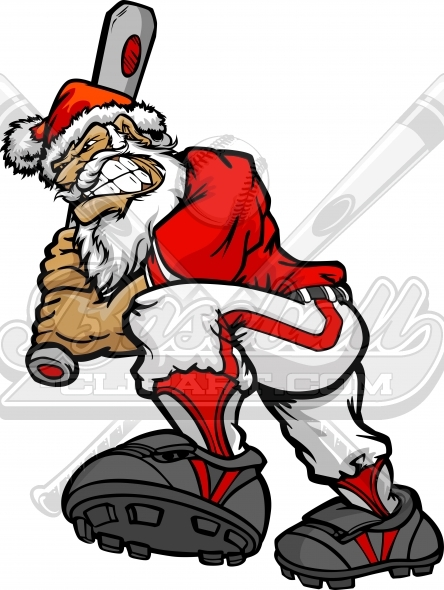 Christmas Santa Claus Baseball Player Cartoon Clipart Image