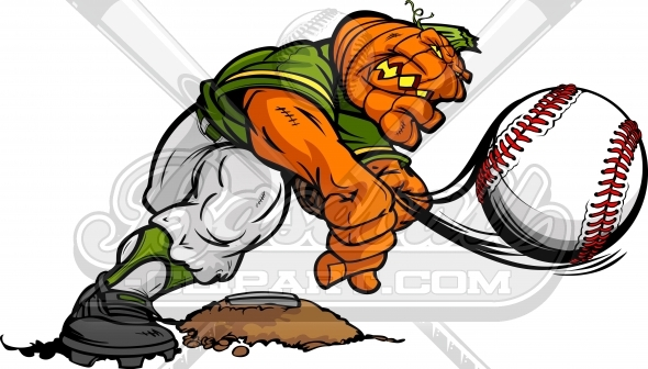 Jack O Lantern Baseball – Halloween Cartoon Clipart Image